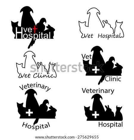 Veterinary Hospital logos with cat, dog, rabbit and parrot silhouettes. Vector illustration in eps8 format. - stock vector