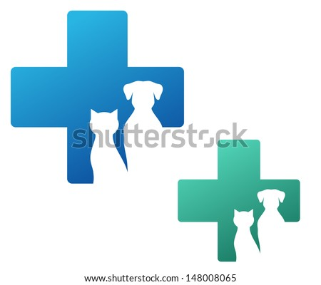 veterinary icon with cross and dog silhouette  - stock vector