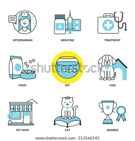 Veterinary medicine and pets vector icons set: veterinarian, medicine, treatment, food, pet, dog, pet shop, cat, awards. Modern line style - stock vector