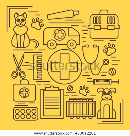 Veterinary pet health care animal medicine icons set isolated