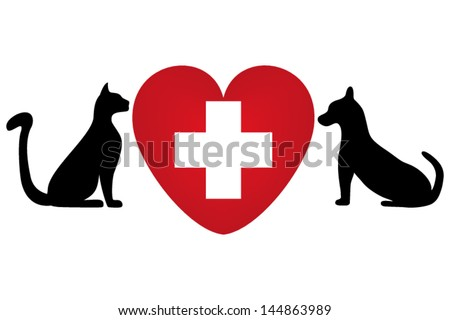 Veterinary symbol with a picture of a cat and dog - stock vector