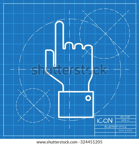 Vetor classic blueprint of hand pointer icon on engineer and architect background  - stock vector