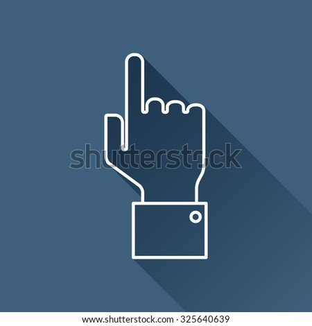 Vetor outline hand pointer icon on dark blue background with long shadow  - stock vector