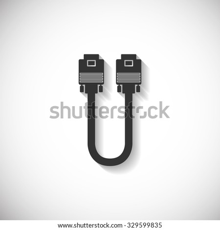 VGA Wire Port Cable Silhouette Computer Icon , Long Shadow - stock vector