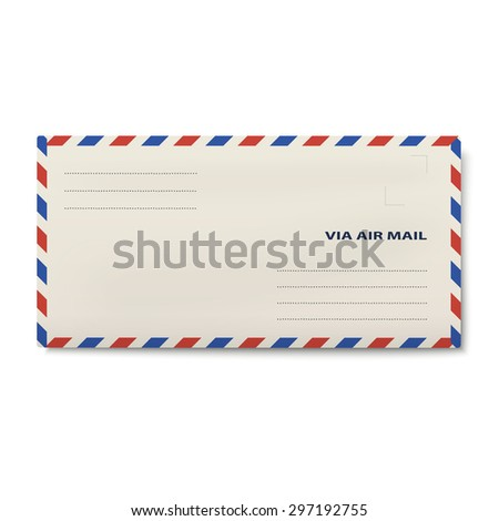 Via air mail envelope isolated on white background