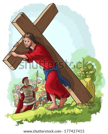 Via Crucis. Vector illustration of Jesus Christ carrying cross. Also available raster and outlined version - stock vector