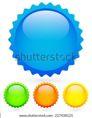 Vibrant, bright badges in 4 colors with highlight - Blank starburst, price flash shapes - Colorful design elements over white (Eps10) - stock vector