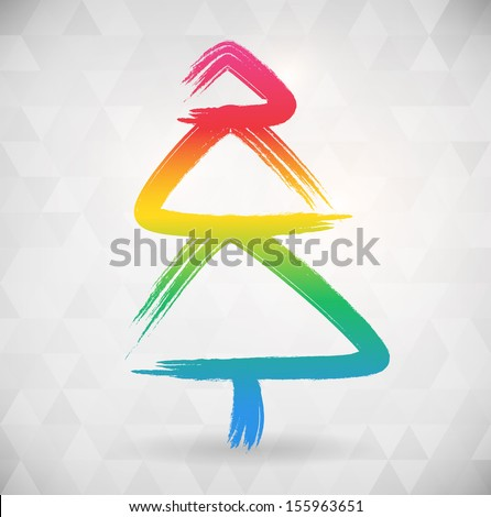 Vibrant color abstract tree background width triangle shapes. vector illustration. - stock vector