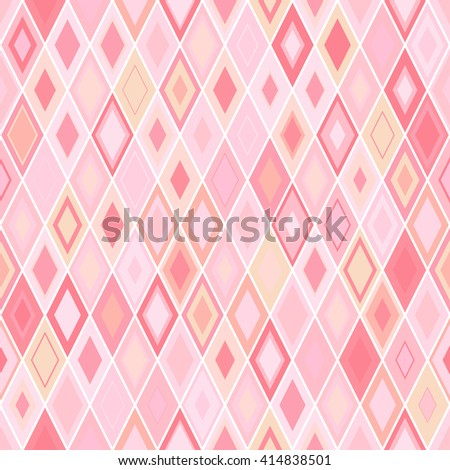 Vibrant Colorful Random Colored Geometric Seamless Pattern. Vector Pixel Rhombus Background. Graphic Textured Puzzle Art. Pink rhomb background. - stock vector