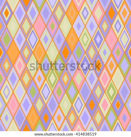 Vibrant Colorful Random Colored Geometric Seamless Pattern. Vector Pixel Rhombus Background. Graphic Textured Puzzle Art. Orange pink blue rhomb background. - stock vector