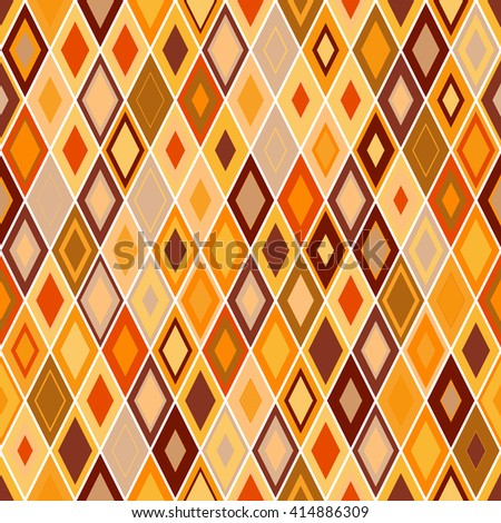 Vibrant Colorful Random Colored Geometric Seamless Pattern. Vector Pixel Rhombus Background. Graphic Textured Puzzle Art. Orange rhomb background. - stock vector