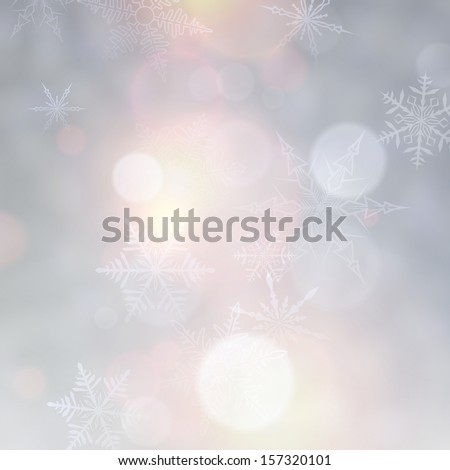 Vibrant defocused background. Bright bokeh with snowflakes. Vector illustration.  - stock vector