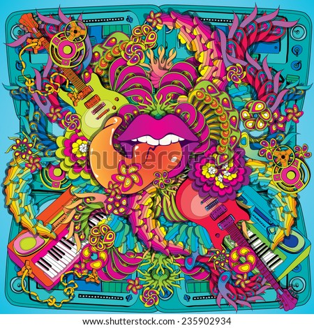 Vibrant psychedelic music lips illustration stock vector for Trippy house music