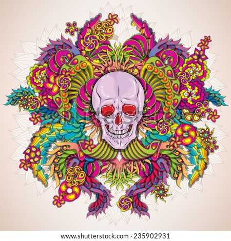 Vibrant psychedelicskull illustration - stock vector