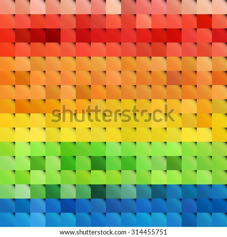 Vibrant rainbow colorful pixel mosaic tiles. Abstract background - stock vector