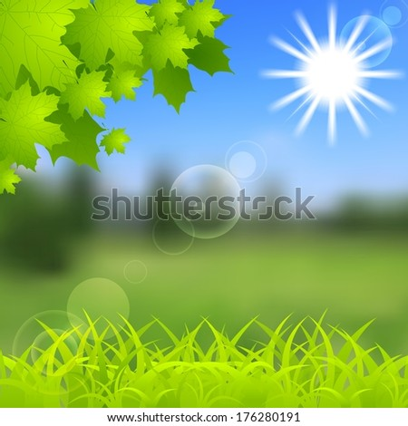 Vibrant spring and summer shiny background. Vector gradient mesh - stock vector