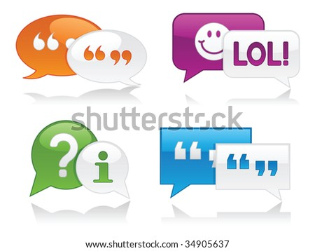 Vibrantly colored, glossy chat bubbles with drop shadows - stock vector