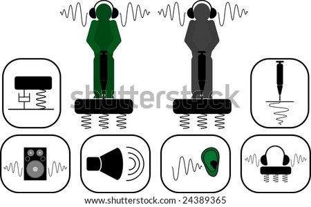 vibrations and noise icons - stock vector