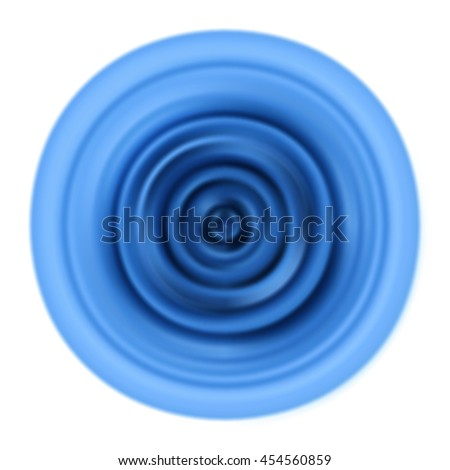 Vibrations. Blue rippled waves. Abstract ripple. Blurred circle.  Abstract turning disk. Blue circle. Circular vibration. Ripple. Vector graphic pattern with aqua membrane isolated on white background - stock vector