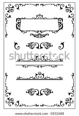 victorian decorative design elements - stock vector
