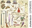 Victorian Era Collection, Lady's and Gentleman's vintage accessories, hand drawn set - stock photo