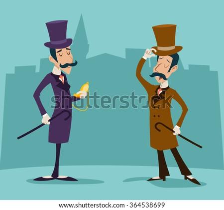 Victorian Gentleman Meeting Businessman Cartoon Character Icon Stylish English City Background Retro Vintage Great Britain Design Vector Illustration - stock vector