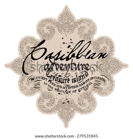Victorian print with slogan - stock vector
