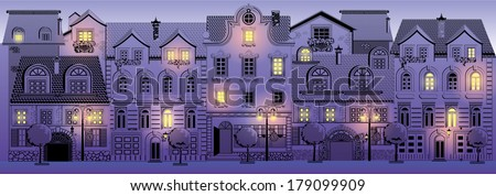 Victorian street (color) - stock vector