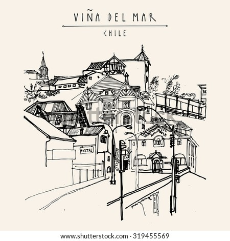 Victorian style architecture in Vina del Mar, Chile, South America. Black and white hand drawn vintage postcard in vector - stock vector