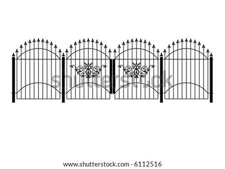 Victorian wrought iron  fence and gates in vector format