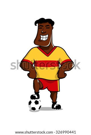 Victorious african smiling soccer player posing with his foot on the ball, cartoon character isolated on white - stock vector
