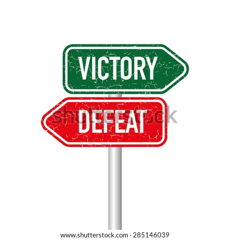 Victory and defeat signpost