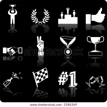 Victory and Success Icon Set Series Design Elements A conceptual icon set relating to victory and success. - stock vector