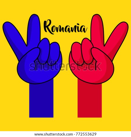 Victory hands. National flag of Romania