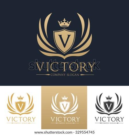 Victory logo,Boutique brand,real estate,property,royalty,crown logo,crest logo,Vector Logo Template. - stock vector