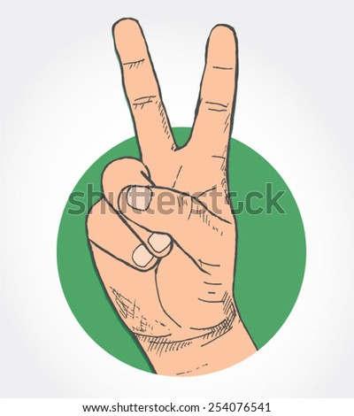 victory sign - hand-drawn illustration  - stock vector