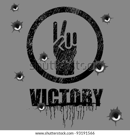 victory sign on background with bullet holes - stock vector