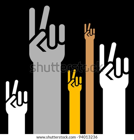 victory signs on black background - stock vector