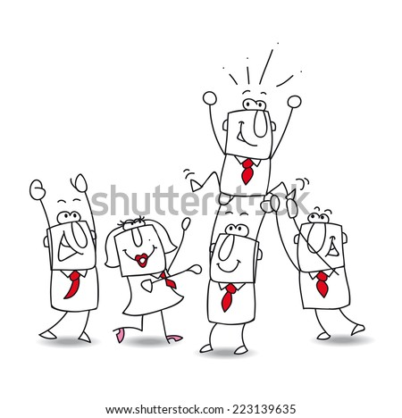 Victory. This teamwork is very happy. this year the winner is... Joe the businessman ! - stock vector