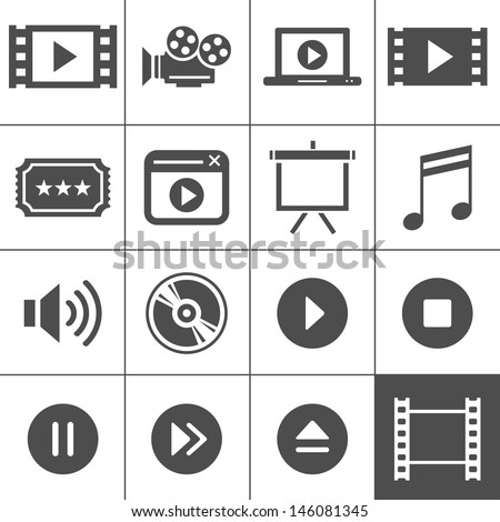 Video and cinema icon set. Simplus series. Each icon is a single object - stock vector