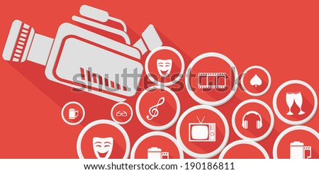 Video and entertainment,Red version,vector - stock vector
