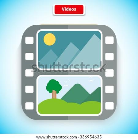 Video app icon flat style design. Video icon, media icon, movie icon, play icon, media digital web, internet movie player, service play application, multimedia film button illustration - stock vector