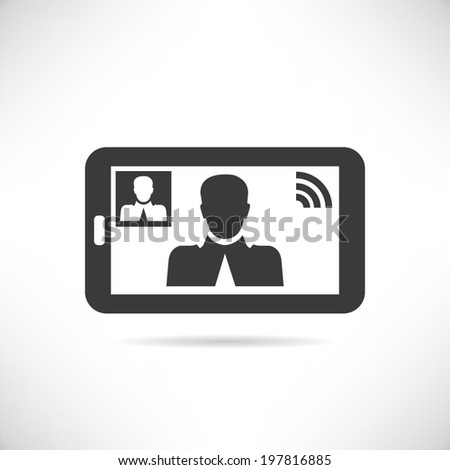 video call, mobile meeting, online video chat - stock vector