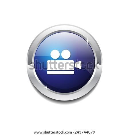 Video Camera Blue Vector Icon Button - stock vector