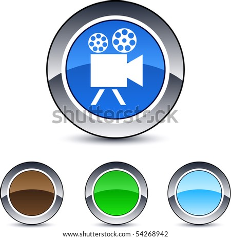 Video camera glossy round web buttons. - stock vector