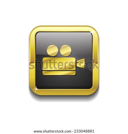 Video Camera Gold Vector Icon Button - stock vector