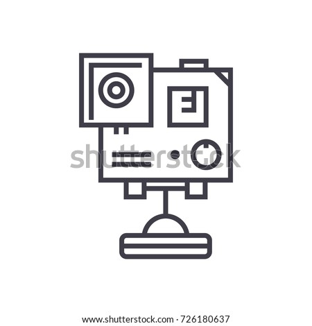 Video Camera Gopro Vector Line Icon Stock Vector Hd Royalty Free