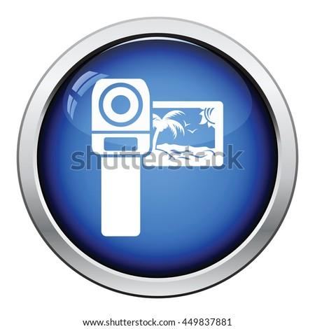 Video camera icon. Glossy button design. Vector illustration. - stock vector