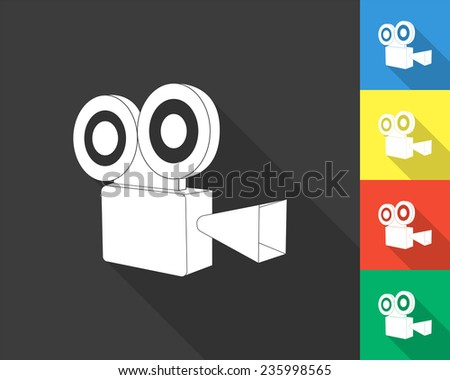video camera icon - gray and colored (blue, yellow, red, green) vector illustration with long shadow - stock vector