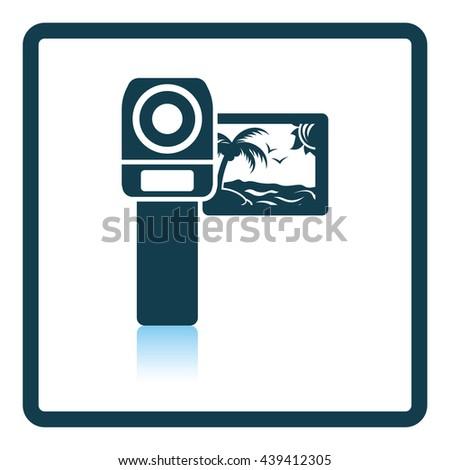 Video camera icon. Shadow reflection design. Vector illustration. - stock vector